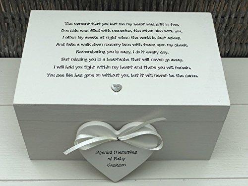 bby Chic ~ Memory Box ~ großer Erinnerungsschachtel in Memory of a Baby ~ Verlust von Baby/Kind Sohn ~ Tochter ~ jeden Namen Verlust Trauer ()