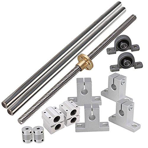 BQLZR Horizontale lineare 200mm optische Achse & 8mm Blei Rod mit Muttern Dual Rail Unterst¨¹tzung CNC Bearing Block & Stepper Coupler Support Set