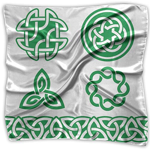 JJIAYI Mixed Designs Silk Square Scarves Bandana Scarf, Medieval Ancient Knots Symbols Braided Design Religious Old Folkloric Gaelic,Womens Neck Head Set -