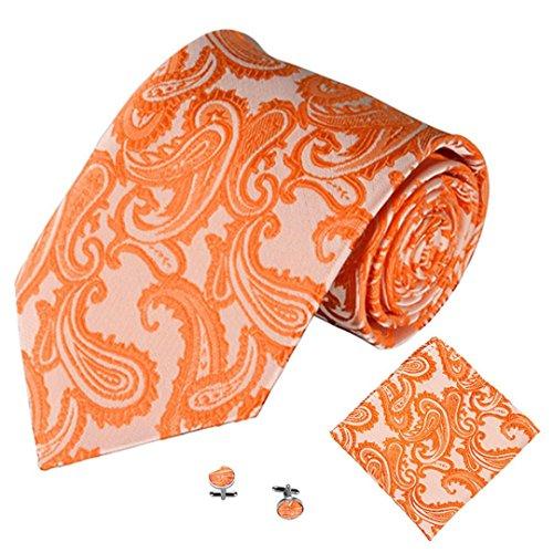quard Herren Krawatten Taschentuch Manschettenknopf 3PCS Paisley Cashew Taschen (orange) (Extra Computer)