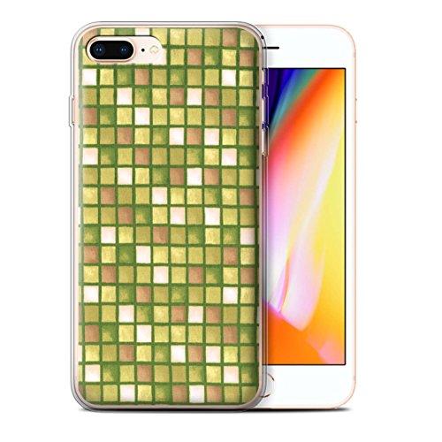 Stuff4 Gel TPU Hülle / Case für Apple iPhone 8 Plus / Gelb/Braun Muster / Bad Fliesen Kollektion Gold