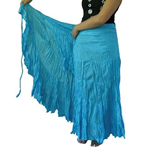 BTP! Cotton Wrap Skirt Cover Up Tiered Ruffle Hippie Gypsy Hobo Handmade in Turquoise WS1