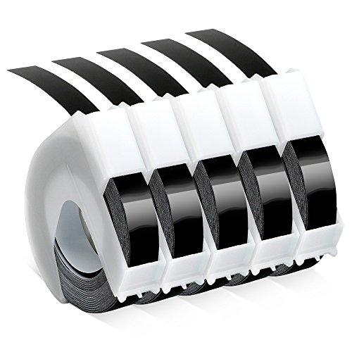 Prägeband 9mm, ersatz Dymo Omega 3D Prägeetiketten Weiß auf Schwarz 9mm x 3m S0847730 Vinyl-Prägeetiketten Schriftbänder für Dymo Omega Junior Etikettenprägegerät, 5 Rollen