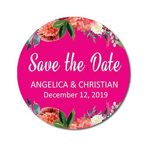 Darling Souvenir Rund 45 Stück Blumen Grenze retten die Datums-Aufkleber Personalisierte Braut-Bräutigam-Namen und Datum Umschlag Aufkleber - Rosa Blume Grenze