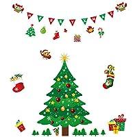Fensterbilder für Weihnachten,Fensterdeko -Statisch Haftende PVC AufkleWeihnachtshaus Wand Aufkleber DIY Schneeflocke Fenster-Abziehbild Ausgangsdekoration entfernbarer Wand Aufkleber (Weihnachtsbaum)