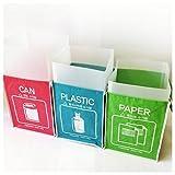 Papelera reciclaje separadas basureros compartimiento contenedor bolsa marco interno (3...