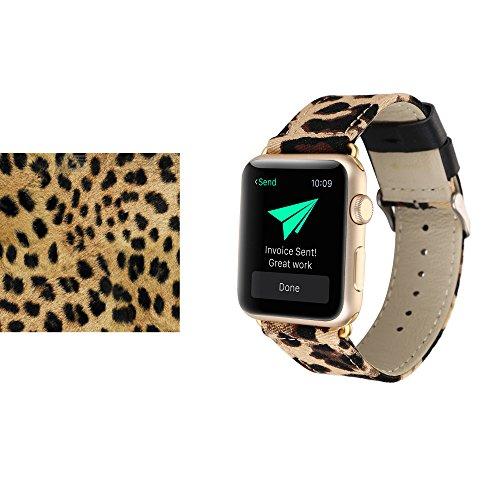 Sumgar Gewebtes Nylon mit Echtem Leder Ersatzband Armband mit Metall-Adapter für Apple Watch / Sport / Edition (38mm, Leopard)