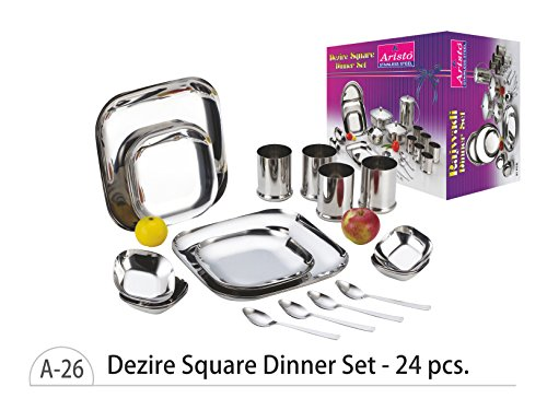 Aristo Dezire Square Stainless Steel Dinner Set, 24 Pcs  available at amazon for Rs.2700