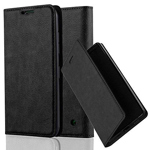 Cadorabo Hülle für Nokia Lumia 630 - Hülle in Nacht SCHWARZ – Handyhülle mit Magnetverschluss, Standfunktion und Kartenfach - Case Cover Schutzhülle Etui Tasche Book Klapp Style