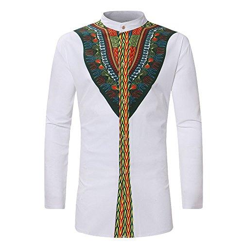 Herren Dashiki Kostüm - Rera Herren Sommer Langarm Hemd mit Stehkragen Dashiki Gedruckt afrikanisch Stil Tribal Hemd Lang Traditionelle Beiläufige Kostüme (Weiß, XL)