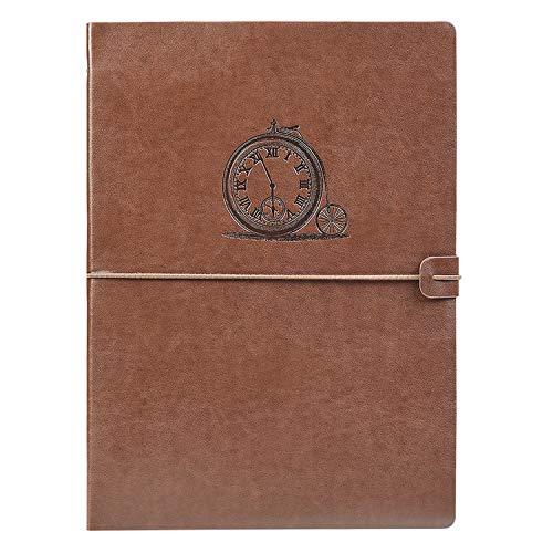 VEESUN A4 Libreta Bonitas Cuaderno de Cuero Vintage Diario de Viaje Recargable Bloc de Notas Journal Sketchbook en Blanco, Regalo Original San Valentín Navidad cumpleaños Aniversario Boda, Reloj