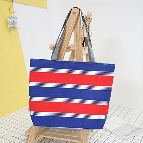 Meoaeo Neue Mode Freizeit Canvas Tasche Schultertasche Handtasche Streifen. Style six A