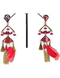 Jewel Carnival Tassel Collection Red Feather Drop & Dangler Earring For Women