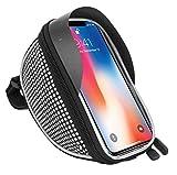 Fahrradtasche Fahrradtasche Fahrrad Lenker Rahmen Universal Touchscreen Halterung für Vodafone Smart N9, Smart E9, Smart X9, Smart E8, Smart N9 Lite Smartphone mit Aufbewahrungstasche Weiß