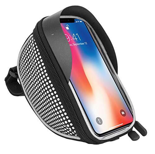 Fahrradtasche Fahrradtasche Fahrrad Lenker Rahmen Universal Touchscreen Halterung für Sony Xz2, XZ1, XA2, XZ2 Compact, XA1, XZ1 Compact, L1, XA1 Plus, XZs, L2 Smartphone mit Aufbewahrungstasche Weiß
