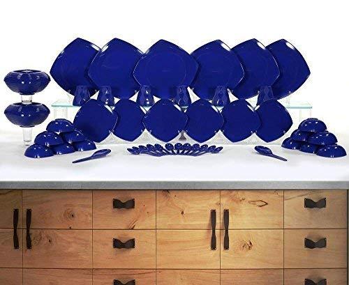Homray Plastic Dinner Set, 48-Pieces, Dark Blue