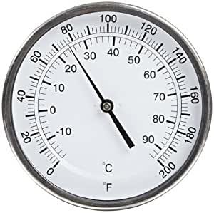 "PIC Gauge B5A2-GG Stainless Steel Bimetal Thermometer with Adjustable Angle, 5"" Dial Size, 2-1/2"" Stem Length, 0/200?F and 0/200?C Temperature Range by PIC Gauges"