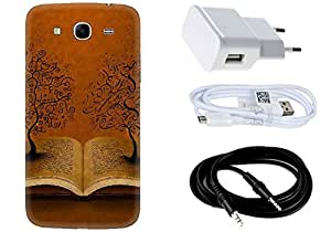 Spygen SAMSUNG GALAXY MEGA 5.8 I9150 Case Combo of Premium Quality Designer Printed 3D Lightweight Slim Matte Finish Hard Case Back Cover + Charger Adapter + High Speed Data Cable + Premium Quality Aux