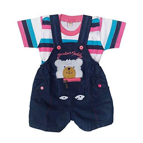 Littly Baby Denim Dungaree Set (Pink)