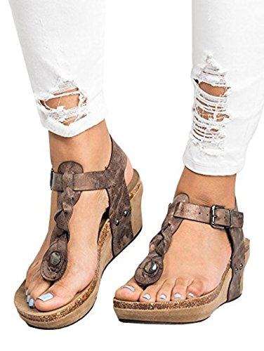 Shelers Damen Boho Geflochtene Keil Sandalen Casual T-Strap Keilabsatz Sandale Schuhe (EU 42, Brown) (Frauen Keil Plattform Für Schuhe)
