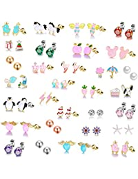 26 Pairs Gold Plated Stainless Steel Post Small Cute Multiple Animal Faux Pearl Stud Earrings Set for Girls Kids