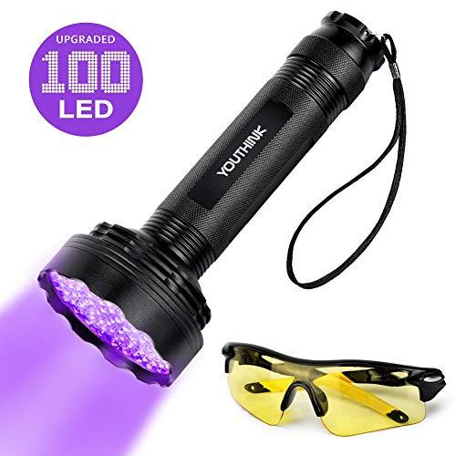 YOUTHINK UV LED Linterna Mejorada de 100 LED Lámpara Ultravioleta de luz Negra...