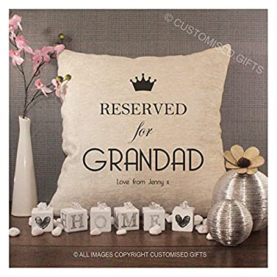 Luxury Personalised Cream Chenille Cushion & Pad, Reserved For Grandad produced by Sewing Yard - quick delivery from UK.