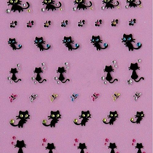 Vovotrade Nail Art Stickers Stickers Nail Decoration de diamant de papillon de chat Conception