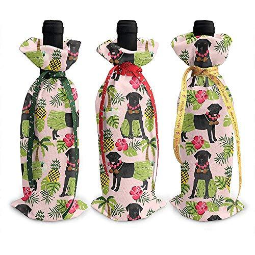 BK Creativity Red Wine Bag,Labrador Retriever Rosa Ananas Schwarzer Hund 3Er Rotweinflasche Beutel Für Hotel Bar Dekoration -