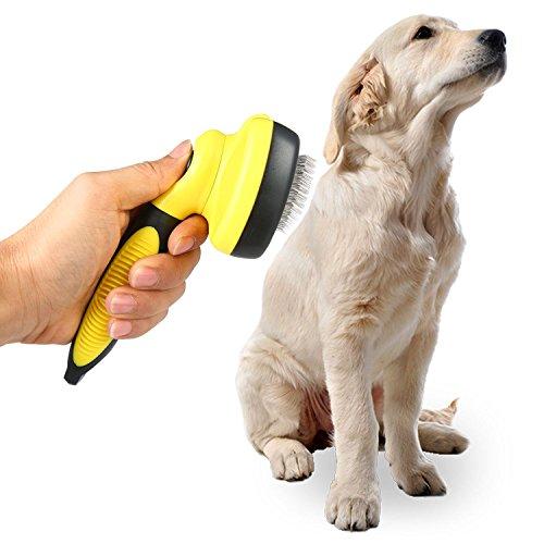 AOLVO Hund Ausfallen Bürste, Kamm Fellpflege Hund Katzen Zupfbürste mit einziehbarem Weich Sicherheit Edelstahl eingezogen, Dematting Kamm zum Entwirren für glatte saubere klein mittel große Hunde lang kurz Haar