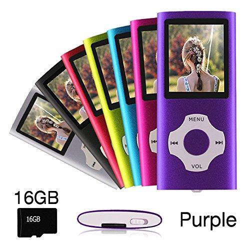 Ueleknight Lecteur MP3 MP4 avec Carte Micro SD 16G, Lecteur de Musique Numérique Portable/Vidéo/E-Book/Visualisation d'images, Lecteur de Musique économique avec écran de 1,8 Pouces -Pourpre