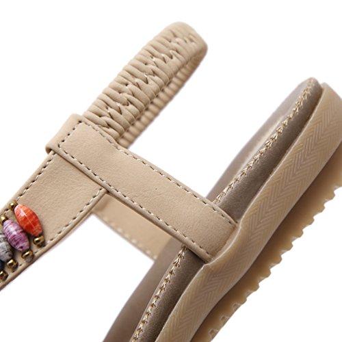 YoungSoul Sandales femme plates ornées de perles Chaussure d été à entredoigt bohême Tongs flip flops de plage Abricot