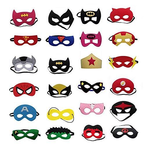 Superhelden Masken,24 Pack Superhero Cosplay Party Masken Filz Masken mit mit Elastischen Seil für Kinder Party Taschen Füllstoffe
