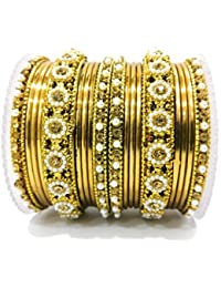 KANZ Traditional Antique Bangles/Chudiyan/Churi Gold Plated Color Topaz With Pearl Set Of 18 Pieces Bangles For...