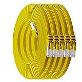 1m - CAT7 cable de red plano amarillo - 5 piezas 10 Gbit/s Gigabit LAN piso flaco cable Patch compatible con compatible con CAT5 CAT6 CAT7 CAT8 Cat8 cinta Lan cable