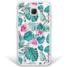WoowCase Funda Samsung Galaxy Core Prime, [Hybrid] Flores Tropicales 2 Case Carcasa [Samsung Galaxy Core Prime] Rígida fabricada en Policarbonato y bordes de TPU Silicona híbrida - Transparente