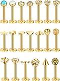 20 Pièces 16G Goujons de Nez en Acier Inoxydable Bijoux de Piercing à Nez Lèvres Tragus Labret Cartilage pour Femmes Filles, 20 Styles (Or)