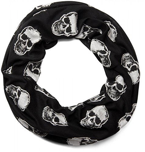 styleBREAKER fular de tubo con motivo cosido de calaveras, unisex 01018081, color:Negro