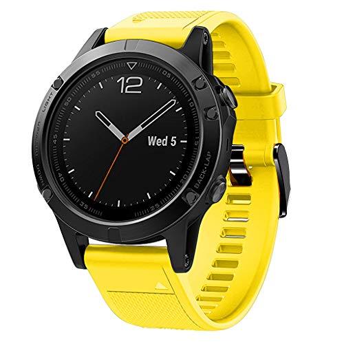 Waotier für Garmin Fenix 5 Quickfit Armband TPU Silikon Armband Kompatibel für Garmin Fenix 5S Fenix 5S Plus Sport mit Schwarz Verschluss Ersatzarmband für Männer Damen (Gelb)