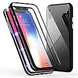 Fantasyqi Custodia Compatibile con iPhone XS/iPhone X Custodia + Pellicola Protettiva in Metallo Bumper di Alta qualità Vetro temperato Retro con Assorbimento Magnetico Resistente agli Urti