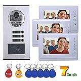 Timbre del teléfono Video del teléfono de la puerta Monitor de video, 7 'Video del teléfono de la puerta con video del color del teléfono de la puerta con 1 pantalla blanca 3 Lector de tarjetas RFID