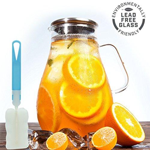 Wasserkaraffe 1.9L, Wasserkrug, Karaffe ,Glaskanne aus Hitzebeständigem Borosilikatglas mit Deckel aus Edelstahl Wasser-gläser Und Krug