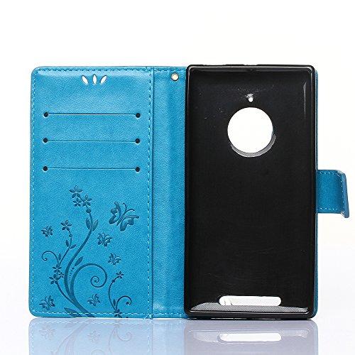 """Nokia Lumia 830 Hülle, Nokia Lumia 830 Schutzhülle, Alfort 3 in 1 Lederhülle Fashion Design Premium PU Leder Hohe Qualität Tasche Case Cover Kasten Abdeckung Wallet für Nokia Lumia 830 5.0"""" Smartphone Blau"""