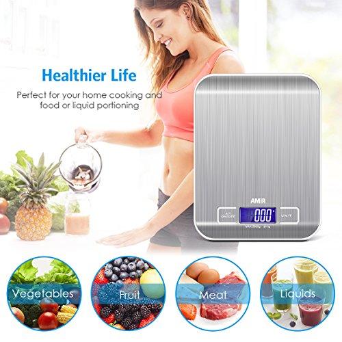 AMIR Balance de Cuisine Electronique, Balance de Cuisine Précision, Balance de Précision, 5kg/11lb, Petite Balance Alimentaire avec Fonction Tare, écran LCD Rétroéclairé (Acier Inoxydable & Argent)