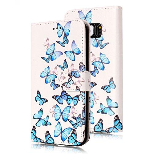 Samsung Galaxy S6 Custoida in Pelle Portafoglio,Samsung Galaxy S6 Cover Pu Wallet,KunyFond Lusso Moda Marmo Dipinto Leather Flip Protective Cover con Bella Modello Cover Custodia per Samsung Galaxy S6 Piccola farfalla blu