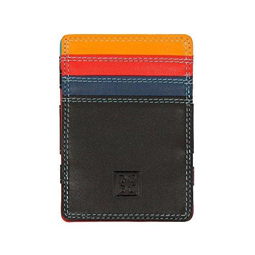 DUDU magische Herren Brieftasche Magic Wallet Colorful aus Leder Multicolor bunt mit 6 Fächern für Kreditkarten Schwarz