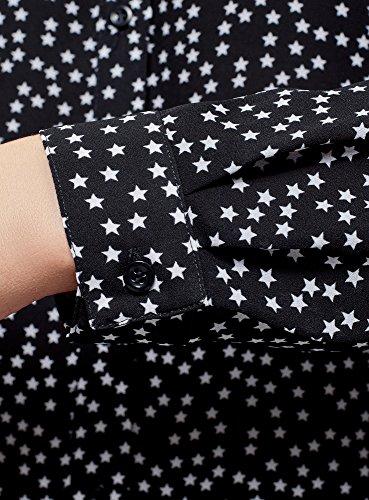 oodji Ultra Damen Chiffon-Bluse mit Druck Schwarz (7912G)