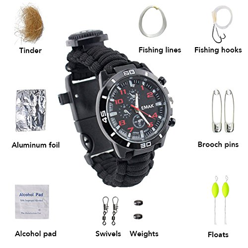 Multifunktion Wasserdicht Survival Watch, 16 in 1 Travel Climbing Camping Mit Compass Nylon Rope Armband Watch Kit Outdoor Survival Tools feierna (Schwarz)