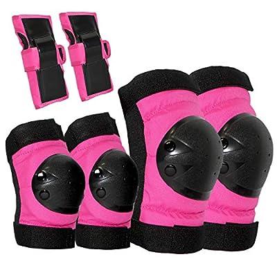 XHCDTOP Protektoren Set - Profi Schutzausrüstung für Kinder, Maedchen Princess Knie und Ellenbogenschoner Set/Rosa