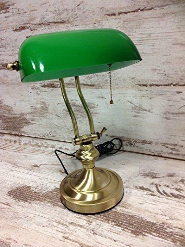 Bankerlampe Messing Tischlampe Schreibtischlampe Lampe Glas Grün Jugendstil Neu